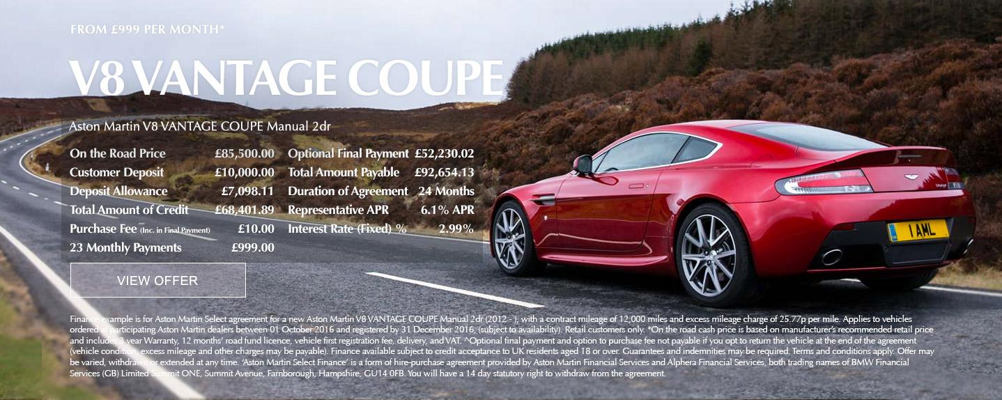 Aston Martin V8 Vantage Offer