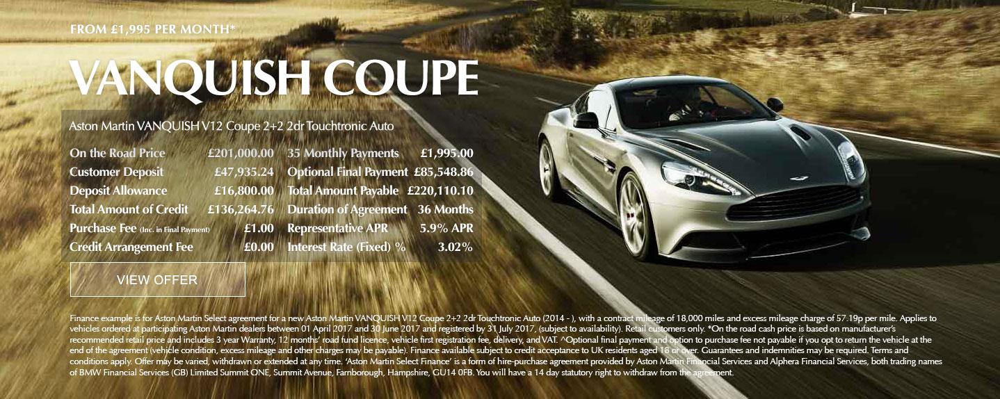 Aston Martin Vanquish Offer
