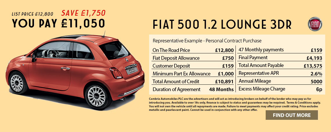 New Fiat 500 Lounge Offer