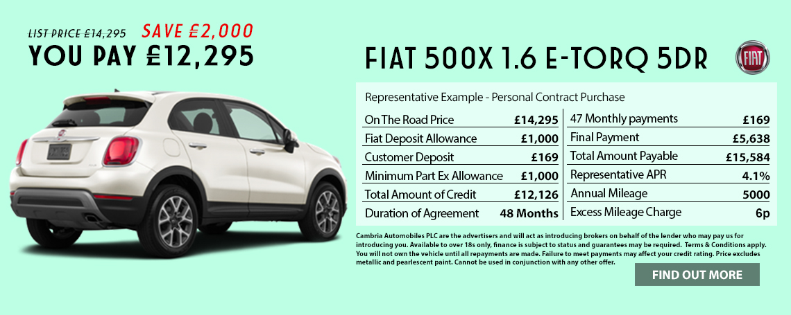 New Fiat 500X Popstar Offer