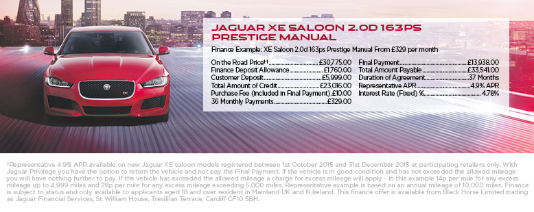 New Jaguar XE from only £329 p