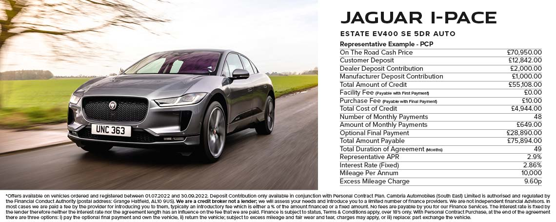 Jaguar I-PACE PCP Offer