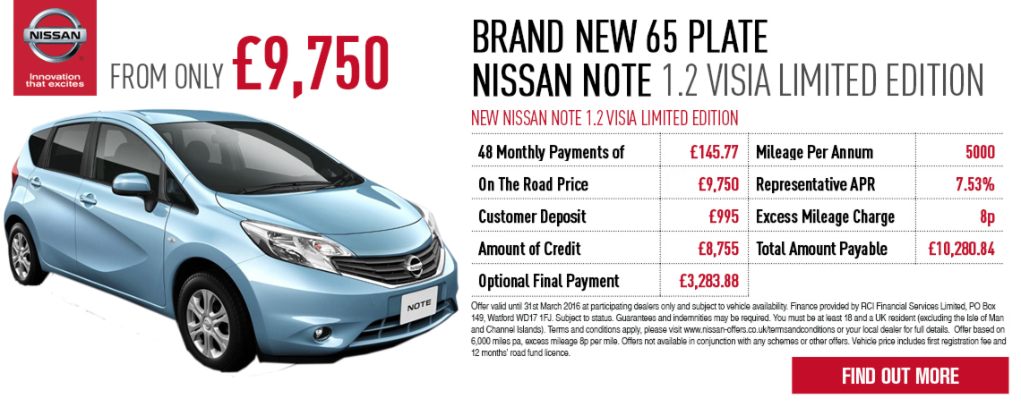New Nissan Note Offer