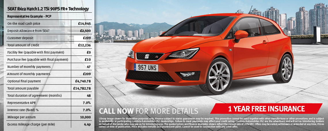 Ibiza Hatch FR with Free Insurance Offer