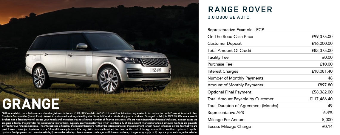 New Range Rover Offer