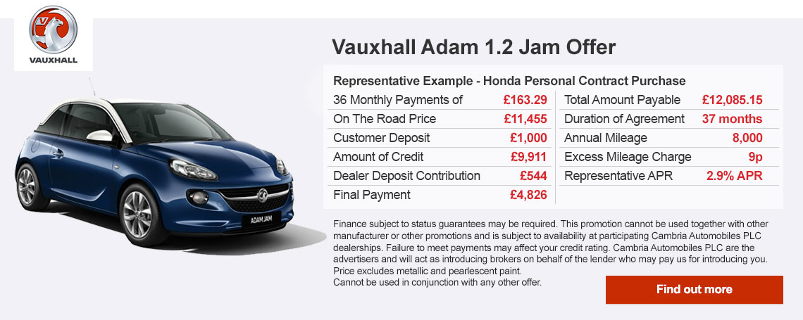 New Vauxhall Adam Jam Offer